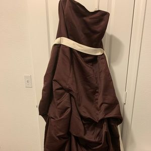 Brown and Tan Bridemaid Dress